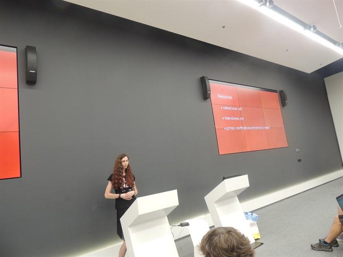 Radka talking in the Microsoft Prague.